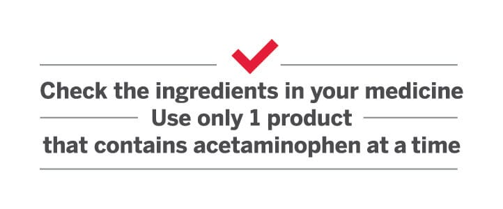 Caption: The makers of TYLENOL® remind you to use only one medicine with acetaminophen at a time.