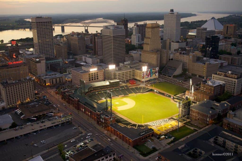 Aerial View of Downtown Memphis and AutoZone Park