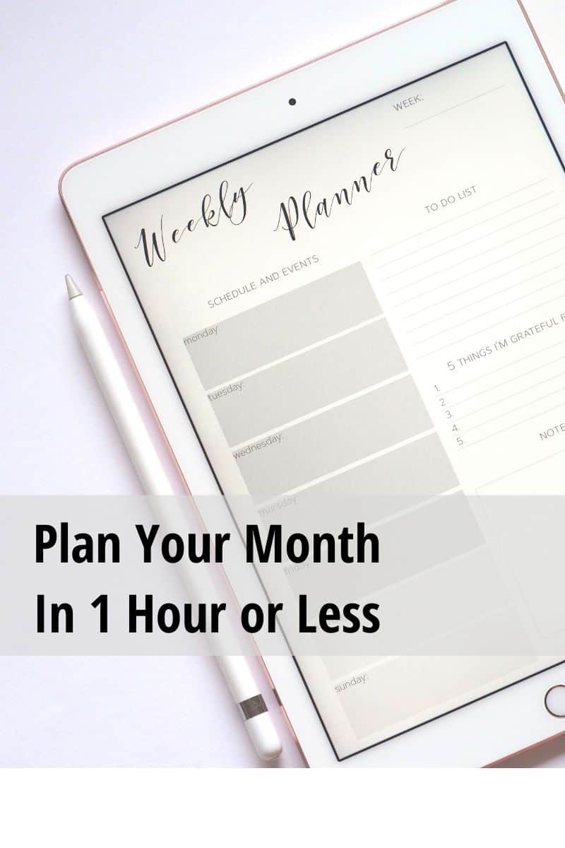 Plan Your Month Sidebar